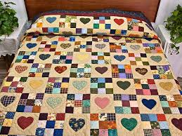 Hearts and Nine Patch Quilt -- exquisite adeptly made Amish Quilts ... & Navy and Burgundy Hearts and Nine Patch Quilt Photo 1 ... Adamdwight.com