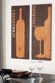wine bottle wall art on wood panel