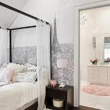 Black And White Paris Wallpaper With Canopy Bed