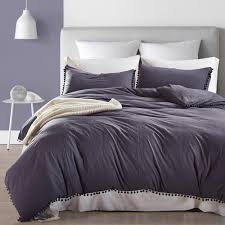 solid dark grey color paern home dorm bedding duvet cover set with pillow case sham uk us size with pom pom luxury duvet kids sports bedding from kunnylight