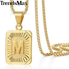 details about mens women chain gold plated pendant necklace square initial letter a z box link