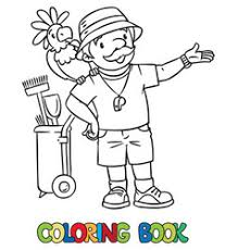 zookeeper coloring page. Wonderful Coloring Coloring Book Of Funny Zoo Keeper With Parrot Vector  With Zookeeper Page