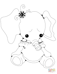 Small Picture Stuffed Elephant Girl coloring page Free Printable Coloring Pages