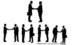 握手を交わすビジネスマンのベクター素材 シルエットデザイン
