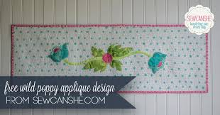 wild poppy free applique design