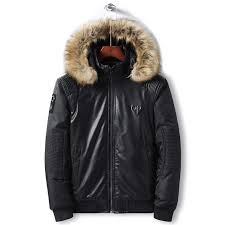 men leather jacket winter men s hooded warm cotton padded jacket coat casual thicken patchwork motocycle jackets male clothing