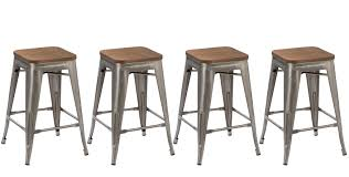 BTEXPERT 24-inch Industrial Stackable Metal Vintage Antique Style Clear  Brush Distressed Counter Bar Stool Modern wood top seat (Set of 4 barstool)  ...