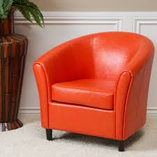 napoli orange bonded leather club chair by christopher knight home free today 12960309