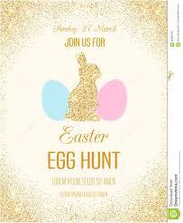 Easter Egg Hunt Vector Flyer With Golden Glitter Stock