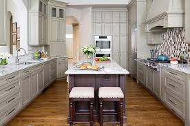 kitchen design in washington dc with seating and gray cabinets