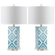 safavieh diamonds 27 in light blue table lamp set of 2