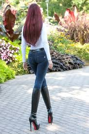 Redhead in black boots