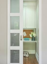 Frosted Glass Pocket Office Door Transitional Denlibraryoffice