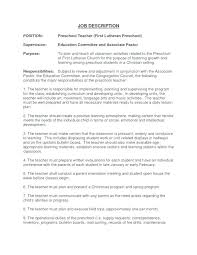 Preschool Teacher Description For Resume – Foodcity.me