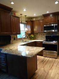 Kitchens With Cherry Cabinets Amazing Cherry Kitchen Cabinets With Gray Wall And Quartz Countertops Ideas