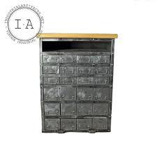 Industrial Computer Cabinet Industrial Brushed Steel 24 Drawer Wood Butcher Block Kitchen