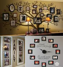 Lovely idea for hanging family pictures. A tree of life, a clock and more  ideas.