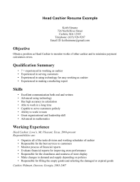 Examples Of Work Experience Of Cashiers In The Cv Document Perfect