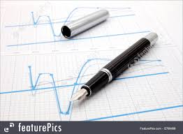 Stock Chart Up Office And Close Up Black Fountain Pen On Business Stock Chart