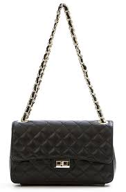Black leather quilted chain bag - UK-TZ.com & Black leather quilted chain bag Adamdwight.com