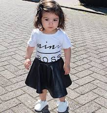 2019 2018 summer girls set toddler infant kids clothes set mini boss letter print t shirt tops leather skirt girls outfits children suit from