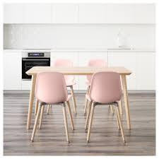 Lisabo Leifarne Tisch Und 4 Stühle Eschenfurnier Rosa In