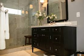 Dark bathroom vanity Dark Gray Black Vanity Decorpad Black Vanity Contemporary Bathroom Jeff Lewis Design