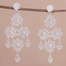 sterling silver chandelier earrings daisy cascade sterling silver fl teardrop chandelier earrings