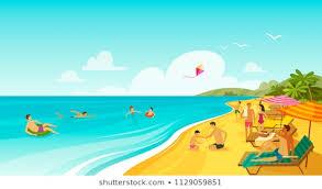 people rest on sea beach vacation travel banner cartoon vector ilration