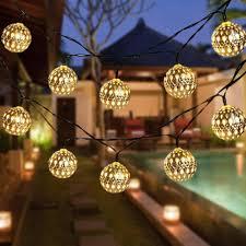 Us 12 99 35 Off Dcoo Solar String Lights Moroccan Ball 15ft 20led Globe Fairy Solar Powered Orb Lantern Christmas Lighting For Outdoor Garden In