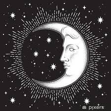 Fototapeta Vinylová Měsíc Měsíce A Hvězdy Ve Starožitném Stylu Ručně Kreslených Line Art A Dotwork Boho Chic Tetování Plakát Oltářní Závoj Gobelín