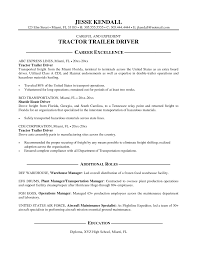 Truck Driver Objective For Resume Downloadable Free Sample Resume For Driver Simple Tractor Trailer 10