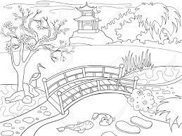 漫画の子供のための塗り絵日本の自然日本の庭のベクトル図