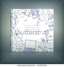 vector hand drawn book cover template modern background with outline doodles for poster