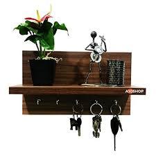 wall mounted decor shelf with key hooks