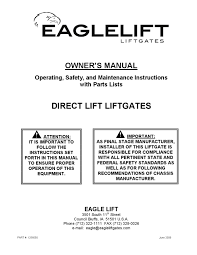 eaglelift edl series liftgate manual by the liftgate parts co issuu