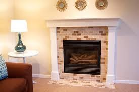 ... Amazing Decoration Ideas With Painting Tile Around Fireplace Interior  Design Using Cream And Brown Mosaic Ceramic Glass Tile Backsplash Around  Fireplace ...