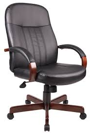 Boss Wood Trim Leather Executive Chair Model 29 Office Chairs