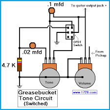 greasebucket tone circuit for guitar there is the possibility that you might not want to use this tone control all of the time if that is the case you might want to install a dpdt switch