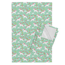 Unicorn Bright Colors Fabric Rainbow Clouds Tea Towels By