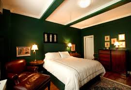Bedroom:Stunning Dark Green Basement Bedroom Design With Cozy Brown  Armchair And White Bed Sheet