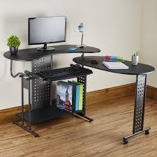 folding modern l shaped pc desk in black