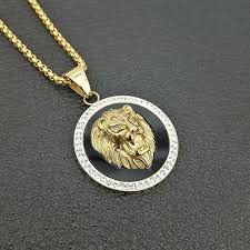 whole hip hop gold color lion pendant necklace with zircon for women men the lion of judah jewelry charms ethnic gifts gold necklace heart necklace