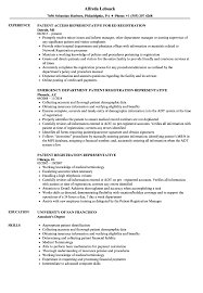 Patient Registration Representative Resume Samples Velvet Jobs
