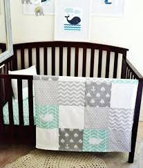 mint crib bedding bedding set nautical whale baby crib nursery with anchors sailboats whales in white