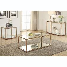 coaster furniture chocolate chrome coffee table with mirror shelf