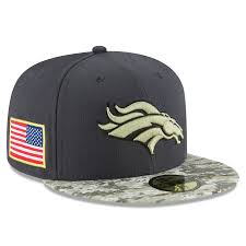 59fifty Fitted Sideline Salute Era Graphite Service To Men's Hat Denver Broncos Official New