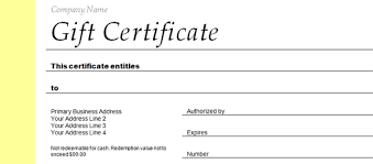 gift certificates format employee gift certificate template