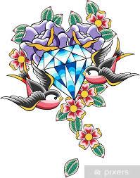 Fototapeta Vinylová Vrabec Diamond Tetování