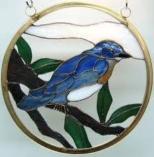 another blue bird stain glass suncatcher